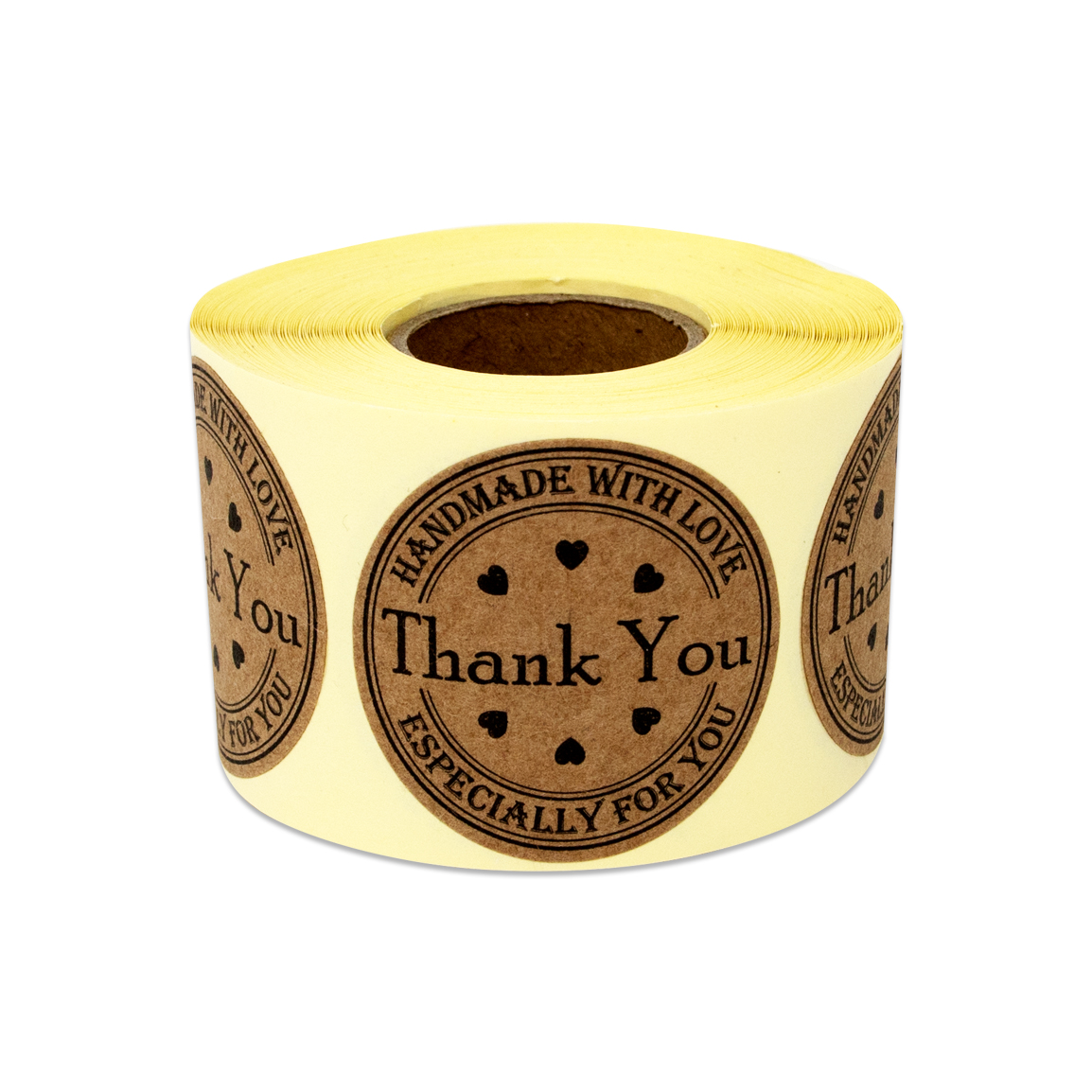 """1.5"""" Round Thank you Handmade with Love Stickers Labels for Thank you Cards ( 10 Rolls / Brown )"""