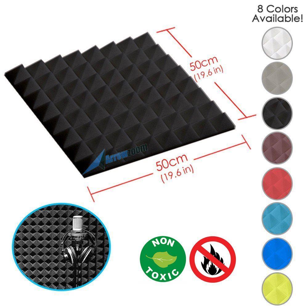 "Arrowzoom New Black 19.6"" x 19.6"" x 1.9"" Pyramid Studio Soundproofing Acoustic Foam Tile Panel"