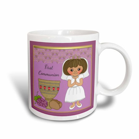 - 3dRose First Communion Girl With Bread and Wine Purple - Ceramic Mug, 15-ounce