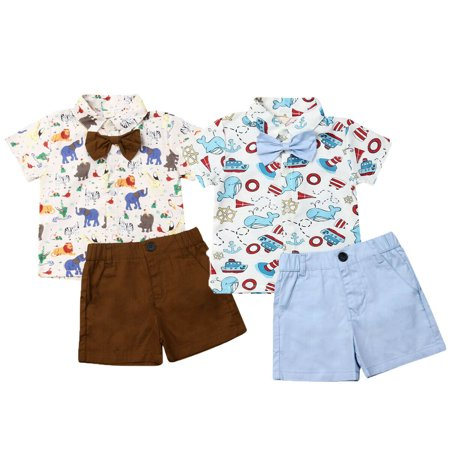 Kids Whale Costume (Newborn Kids Baby Boys Summer Tie Tops T-shirt Pants Shorts Animals Outfits)