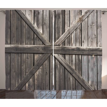 Rustic Curtains 2 Panels Set, Old Wooden Door with Big Cross Design Rustic Country Life Architecture Building Doorway, Window Drapes for Living Room Bedroom, 108W X 63L Inches, Taupe, by Ambesonne ()