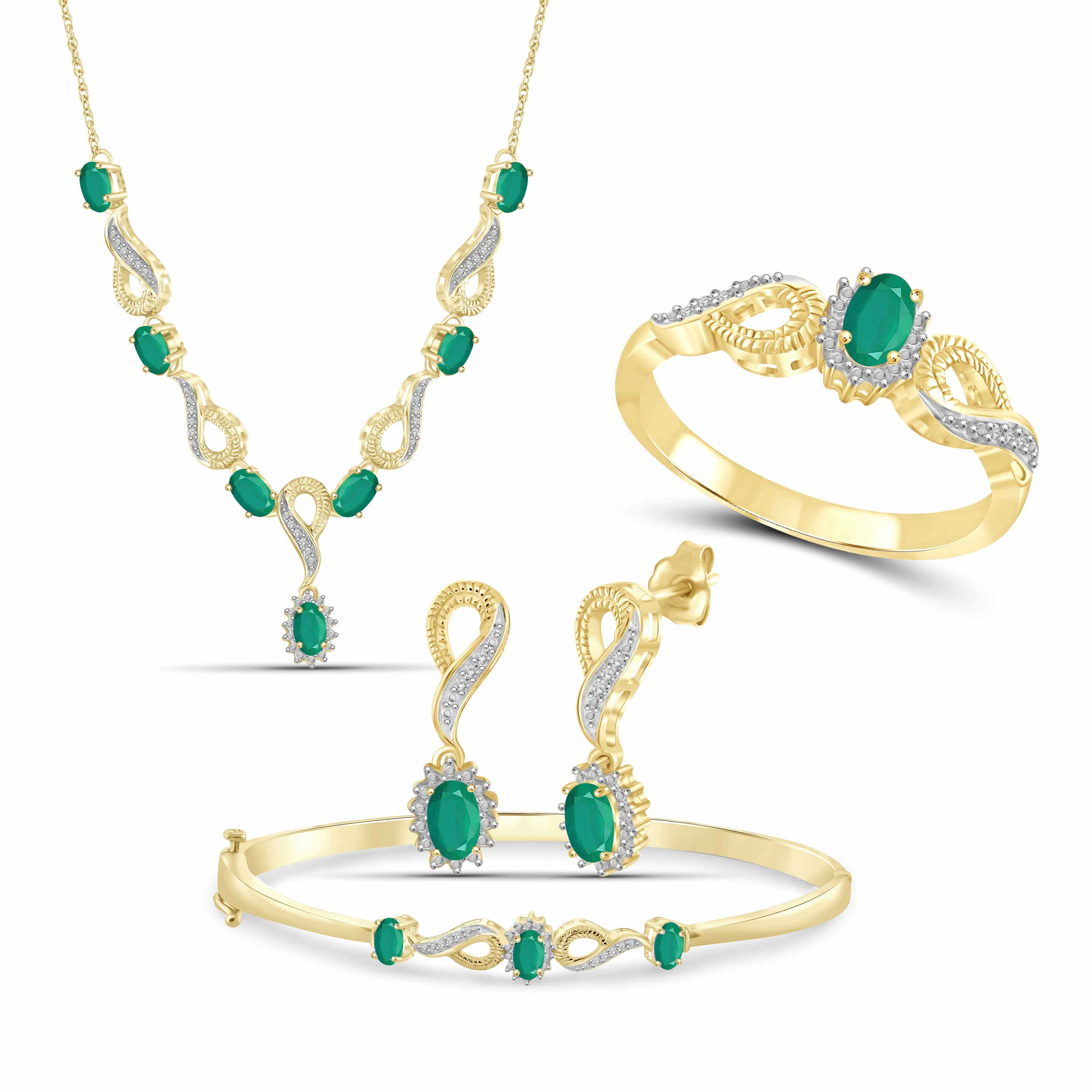 JewelersClub 3.00 Carat T.G.W. Emerald And White Diamond Accent 14K Gold over Silver 4-Piece Jewelry set
