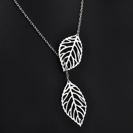 Simple Mori Metal Hollow Leaf Necklace Female Double Leaf Short Clavicle Chain - image 2 of 6