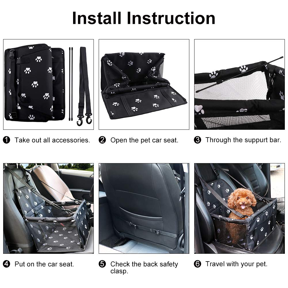 Akinerri Portable Pet Dog Booster Car Seat Travel Carrier with Clip-On Safety Leash and Zipper Storage Pocket-Perfect for Small and Medium Pets