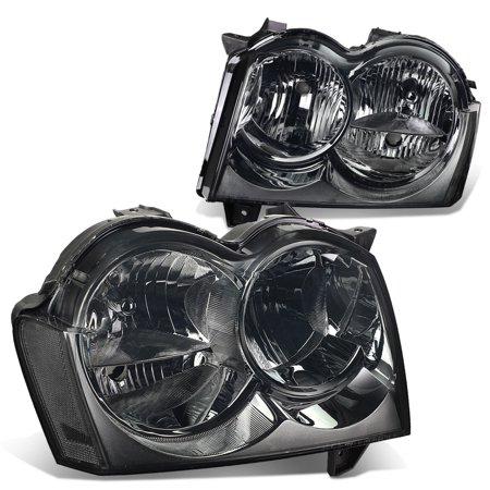 For 2005 to 2007 Jeep Grand Cherokee Headlight Smoked Housing Clear Corner Headlamp 06 WK