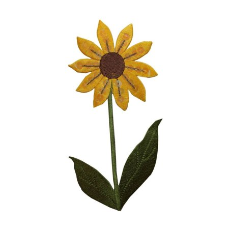 ID 6020 Sequin Sunflower With Leaves Patch Flower Embroidered Iron On Applique
