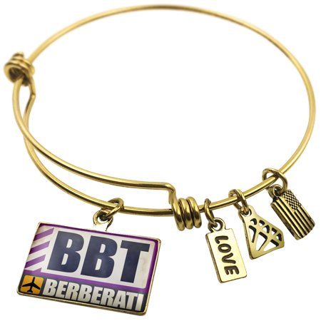 Expandable Wire Bangle Bracelet Airportcode Bbt Berberati   Neonblond