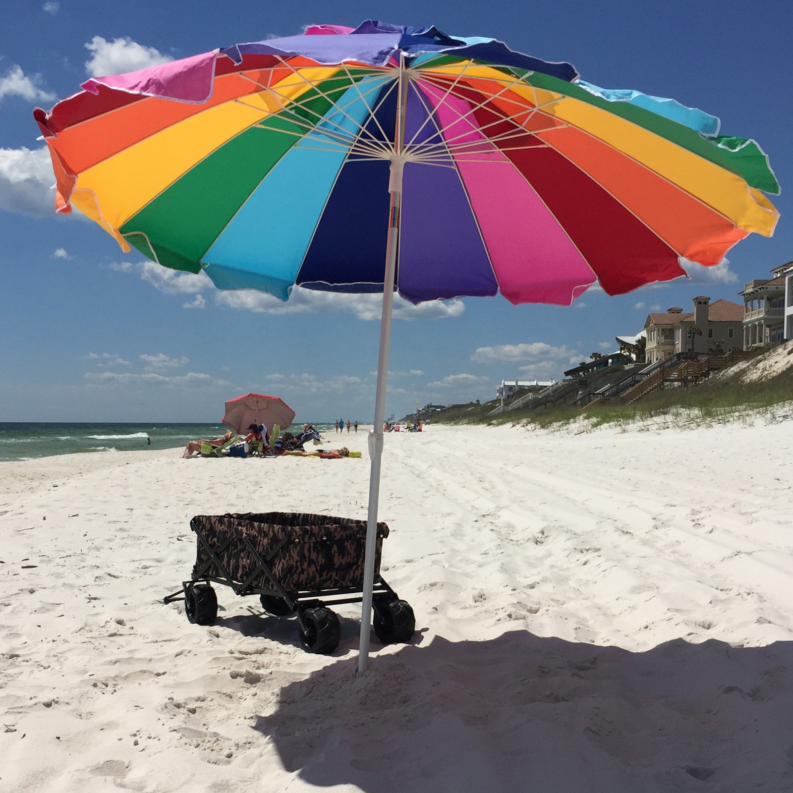63386f84bd Impact Canopy 8 ft. Rainbow Beach Umbrella with Carry Bag