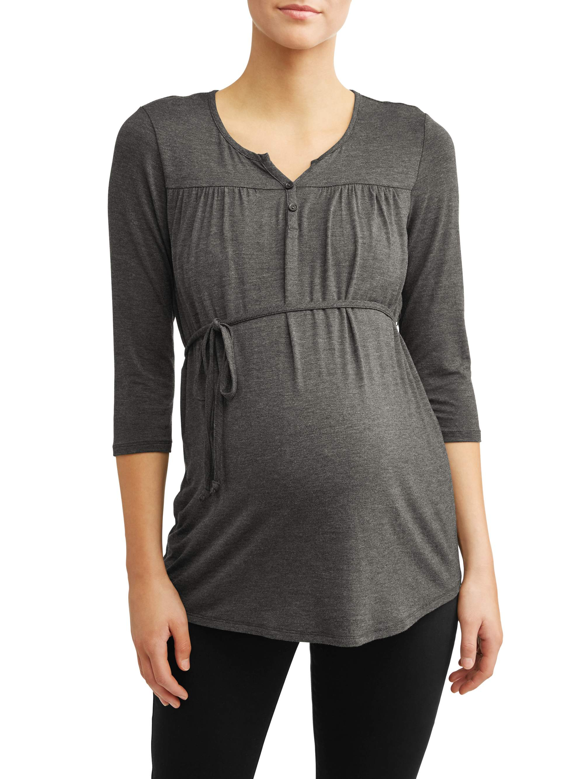 Maternity 3/4 Sleeve Button Henley with Tie