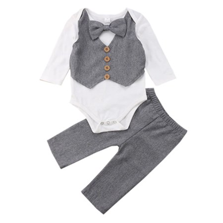 Baby Toddler Handsome Boy Casual Bow Tie Long Sleeve Romper with Pants 2Pcs Outfits (90/12-18 Months)