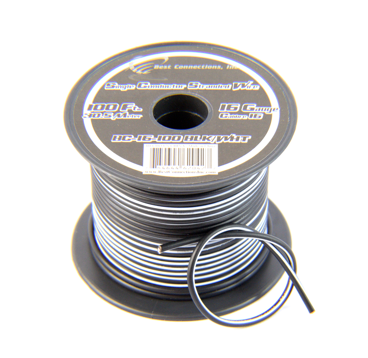 16 Gauge Black with White Stripe Tracer Wire - 100' FT