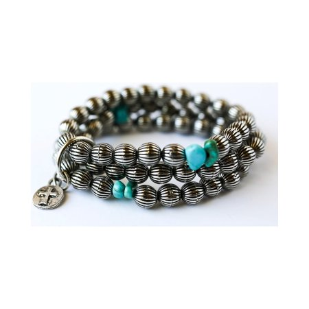 West And Co Womens And Co  Burnished Silver Melon Bead Turquoise Bracelet   Br526