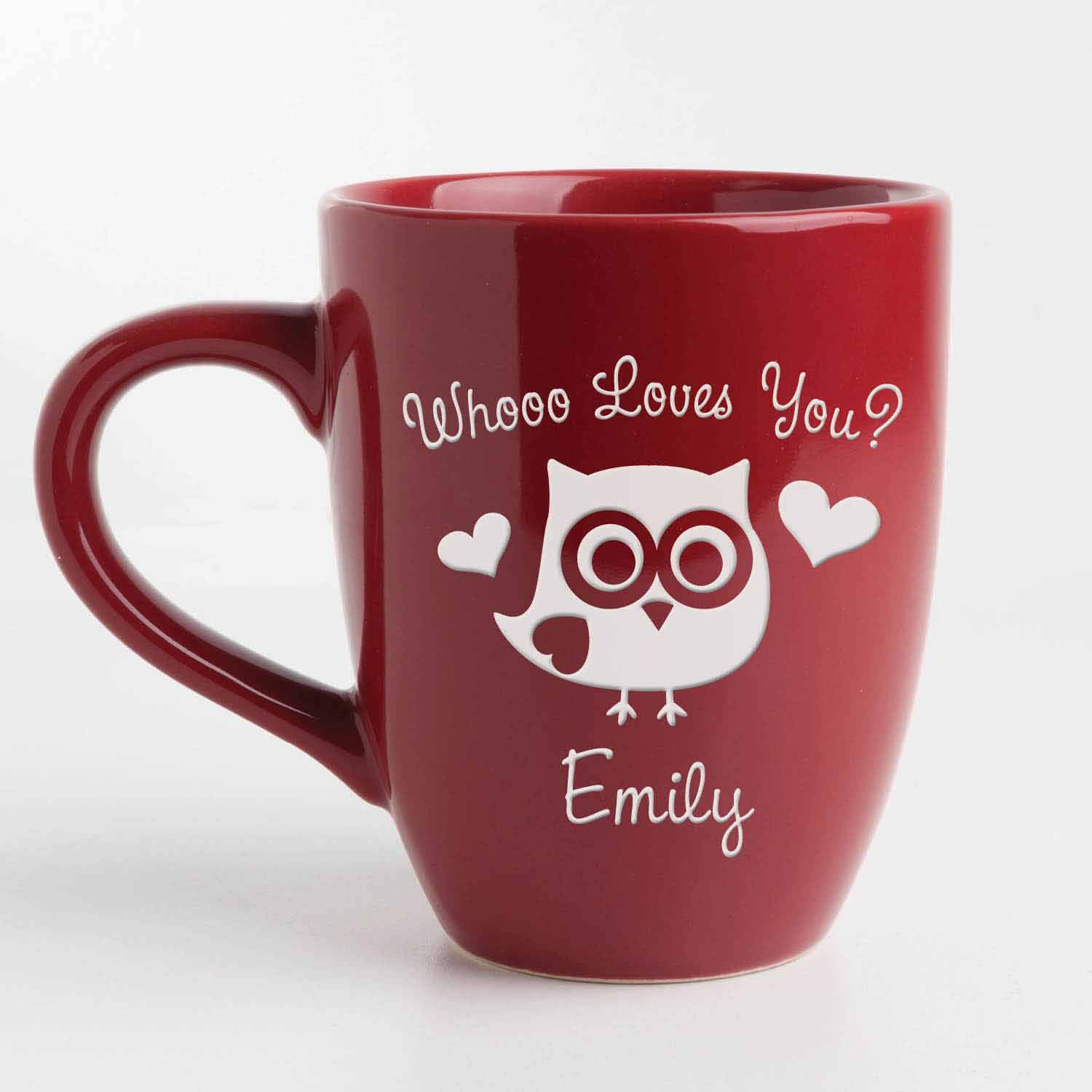 Personalized Whooo Loves You? Red Bistro 14.5 oz Coffee Mug