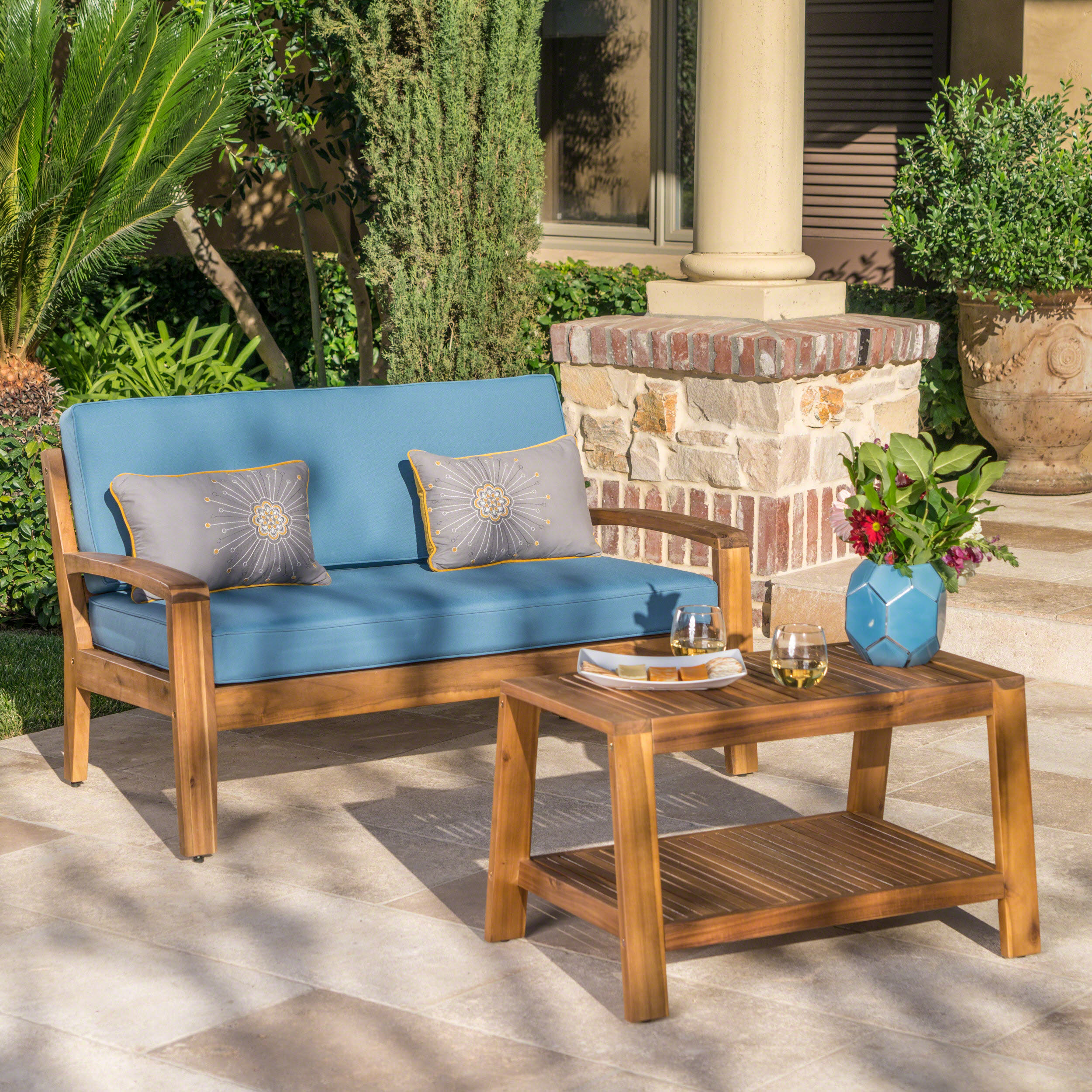 Wilcox Outdoor Acacia Wood Loveseat and Coffee Table Set with Cushions, Teak, Blue by Noble House