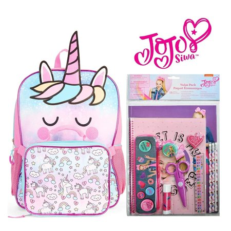 Jojo Siwa Back To School 11 Piece Set with Backpack for Girls (Rainbow Unicorn)](Girls Back To School)