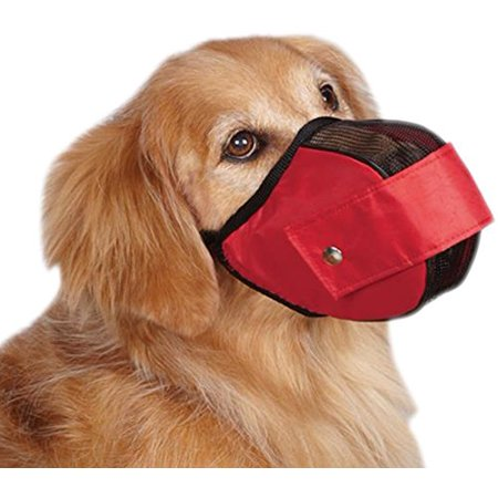 Gear Cordura Nylon Fabric Mesh Dog Muzzle  Medium Large  11 1 2 Inch  Red  Muzzle Slips On Quickly  Snaps Closed And Has An Adjustable  Woven Nylon Strap  By Guardian