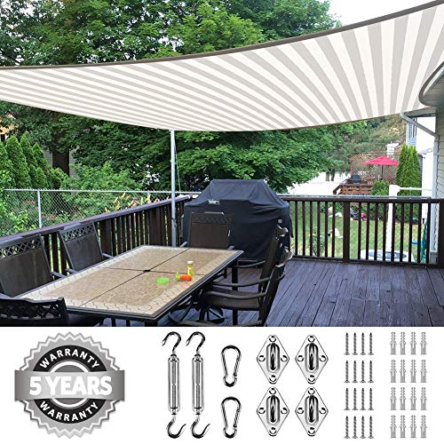 Blue Quictent 20X16FT 185G HDPE Rectangle Sun Shade Sail Canopy 98/% UV Block Outdoor Patio Garden with Free Hardware Kit