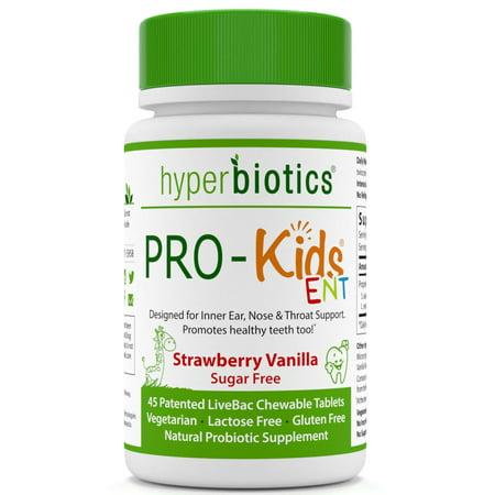- Hyperbiotics, PRO-Kids ENT, Strawberry Vanilla, Sugar Free, 45 Chewable Tablets(pack of 1)