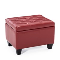 BELLEZE Tufted Ottoman Faux Leather Upholstered Storage Rectangle Foot Rest Stool, Red