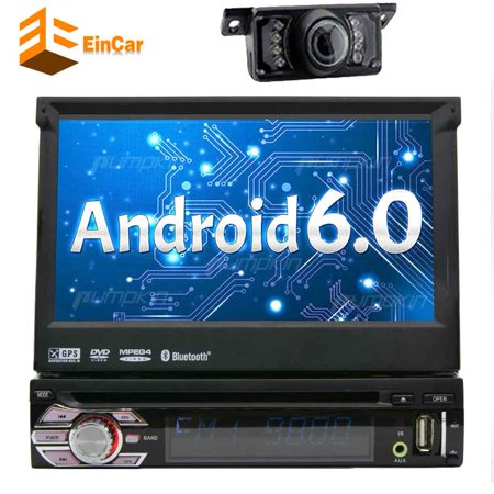 Upgrade Version WIFI Model Qure Core Android 6.0 single din Car dvd Player Stereo GPS Navigation for Universal car With Free Camera 1080P TFT/LCD Touch Screen Car FM Radio (Single Carb Models)