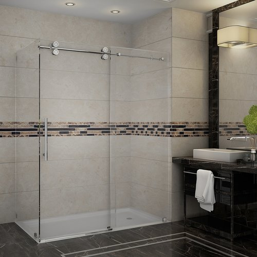 Aston Langham 60'' x 75'' Single Sliding Frameless Shower Door