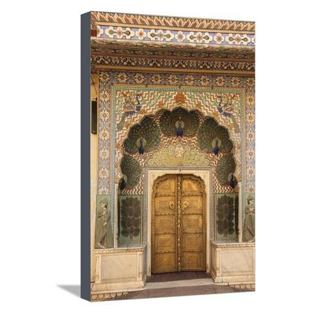 - India, Rajasthan, Jaipur, Peacock Door at City Palace Stretched Canvas Print Wall Art By Alida Latham