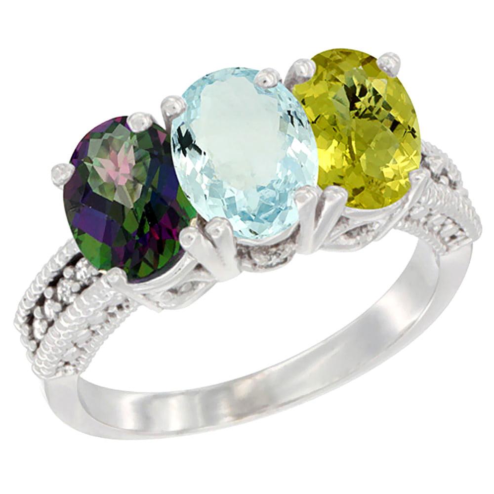 14K White Gold Natural Mystic Topaz, Aquamarine & Lemon Quartz Ring 3-Stone 7x5 mm Oval Diamond Accent, sizes 5 10 by WorldJewels