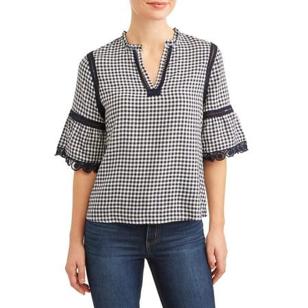 21a0b23e7e4e2b TRU SELF - Women s Gingham Ruffle Sleeve Top - Walmart.com