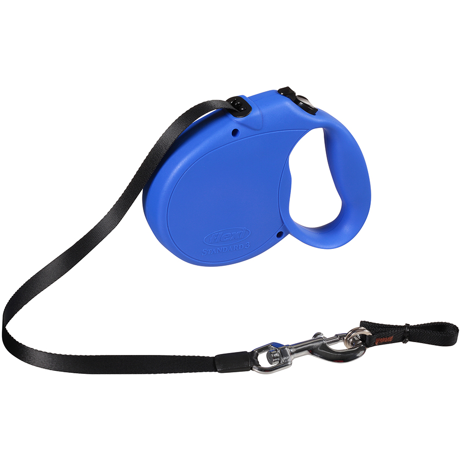 Flexi Retractable Dog Leash, 16 Ft. Tape Dog Walking Leash, Large for Dogs up to 110 Lbs. Blue, Fast and Reliable 1-Hand Braking System with Permanent Braking Feature