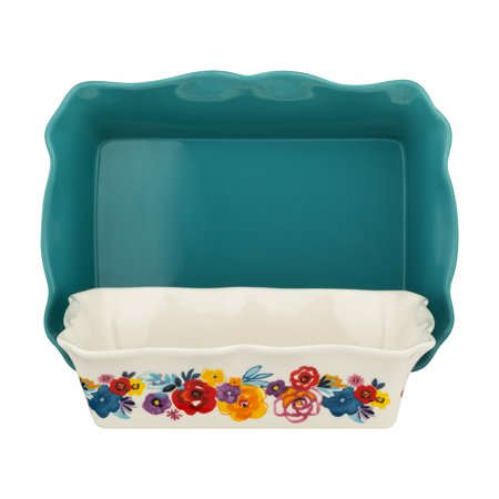 The Pioneer Woman 2-Piece Rectangular Ruffle Top Ceramic Bakeware (Silicone Mini Bakeware Set)
