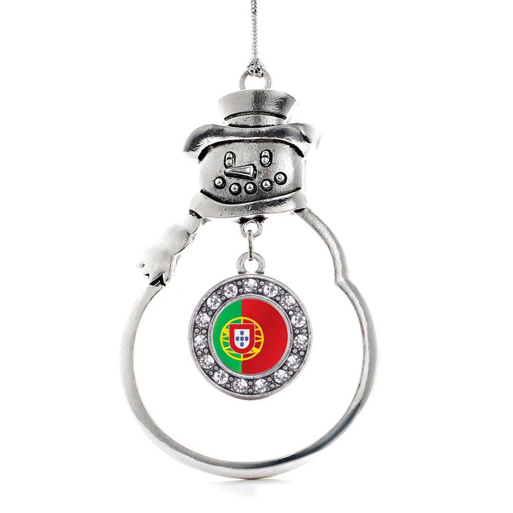 Portugal Flag Circle Snowman Holiday Ornament