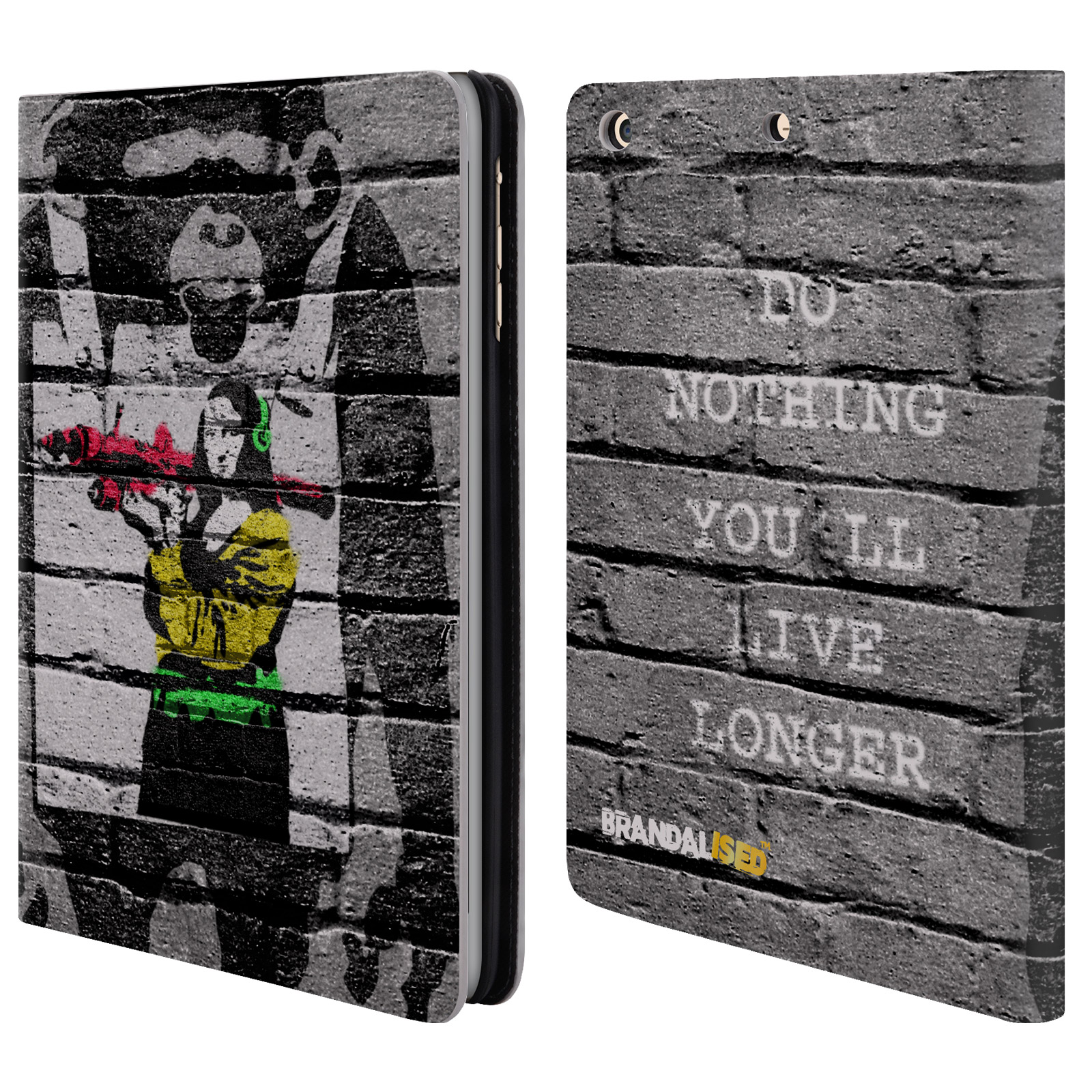 OFFICIAL BRANDALISED BANKSY COLOURED ART LEATHER BOOK WALLET CASE COVER FOR APPLE IPAD