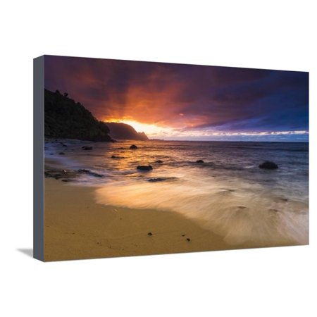 Sunset over the Na Pali Coast from Hideaways Beach, Princeville, Kauai, Hawaii, USA Stretched Canvas Print Wall Art By Russ Bishop