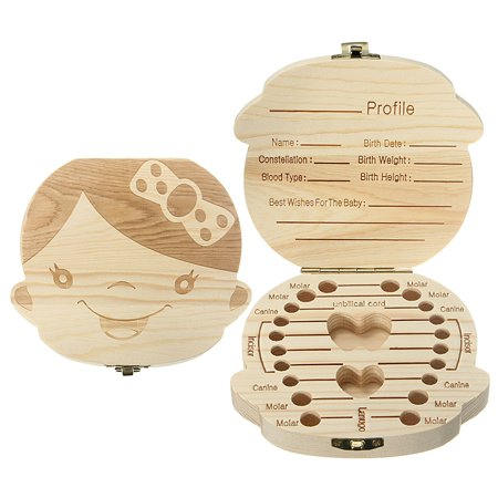 - YOSOO Wooden Organizer Keepsake Storage Case Cute Teeth Holder First Haircut Personalized Deciduous Souvenir For Kids Baby Save 3-6YEARS Creative Gift English