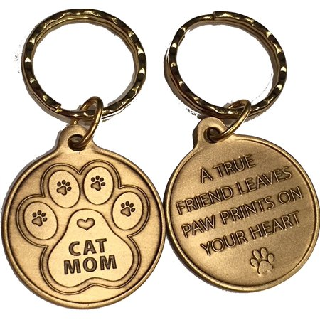 Cat Mom - A True Friend Leaves Paw Prints On Your Heart Keychain Paw Print Bronze