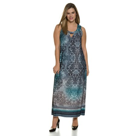 Ulla Popken Women's Plus Size Gorgeous Medallion Border Print Tank Maxi Dress. 710509