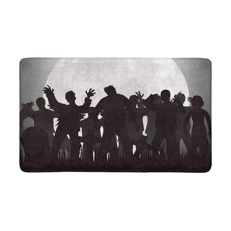MKHERT Halloween Zombies Tombstones and Full Moon On The Cemetery Doormat Rug Home Decor Floor Mat Bath Mat 30x18 - Floor 7 On 100 Floors Halloween