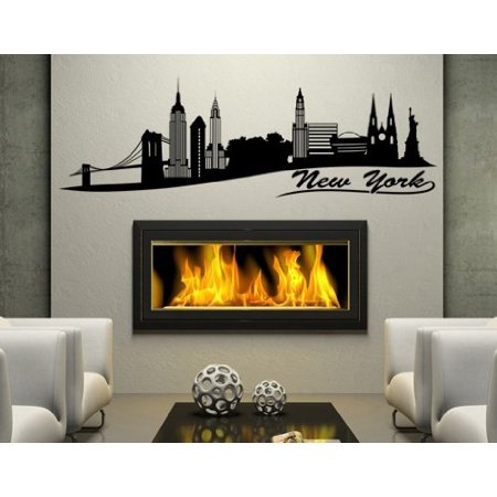 New York II City Skyline Wall Decal - Wall Sticker, Vinyl Wall Art, Home Decor, Wall Mural - 1328 - 79in x 25in, Dark - Island New York Sticker