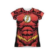 Jla - Flash 52 (Front/Back Print) - Juniors Cap Sleeve Shirt - XX-Large