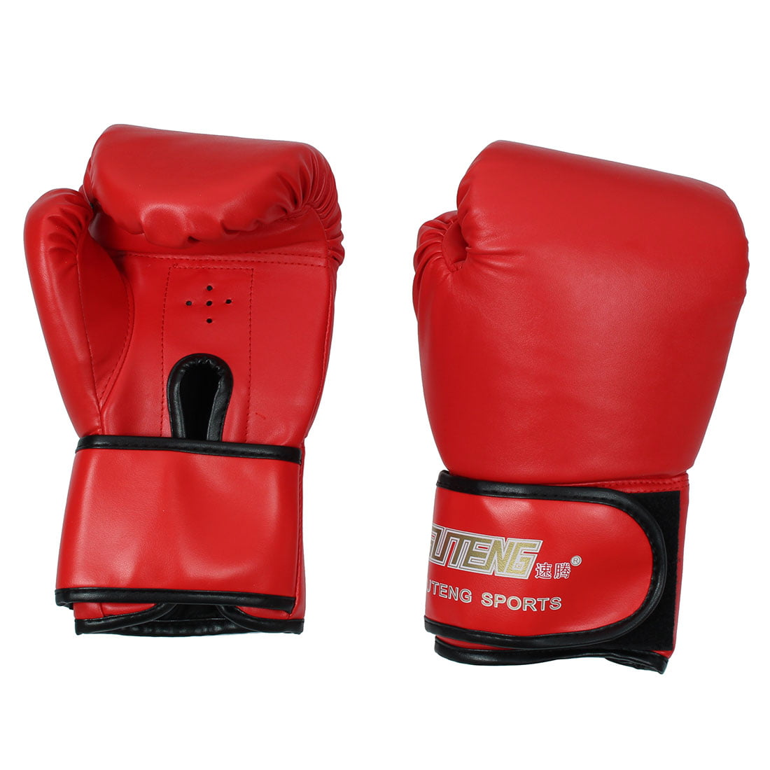 SUTENG Authorized Adult Unisex Sports PU Sparring Punching Bag Mitts Kickboxing Training Boxing Gloves Pair Red by Unique-Bargains