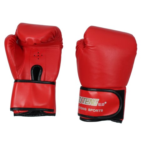 Suteng Authorized Uni Sports Pu Sparring Punching Bag Mitts Kickboxing Training Boxing Gloves Pair Red