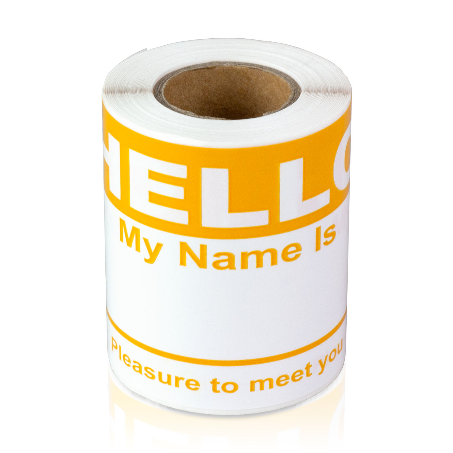 """OfficeSmartLabels 4"""" x 2-5/16"""" Hello My Name is Labels Name Tag (Orange, 100 Labels per Roll)"""