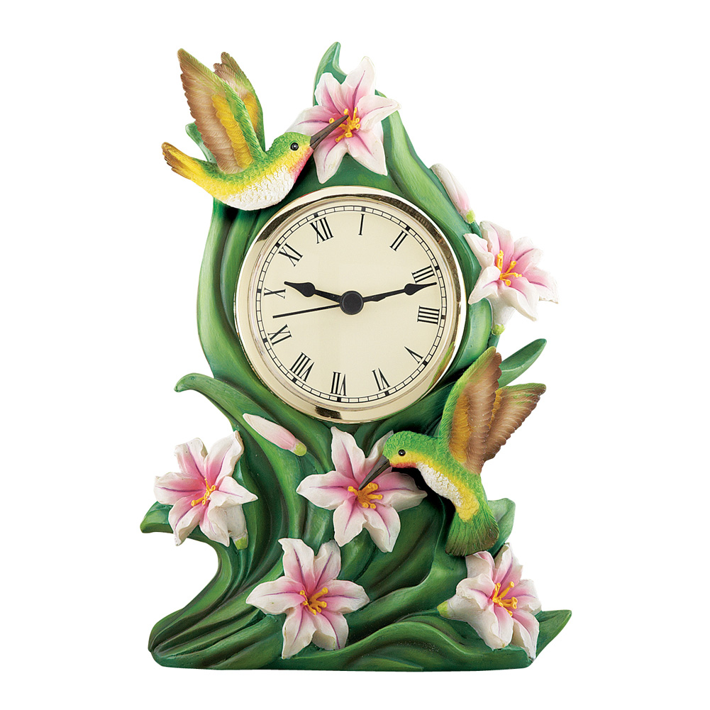 Hummingbird and Lily Table Clock Spring Decoration by Collections Etc