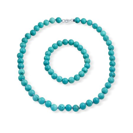 Stabilized Turquoise 9mm Ball Beads Strand Necklace Stretch Bracelet Set For Women Silver Plated Brass Clasp ()