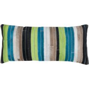 Room with a View Blue/ Green Stripe Leather Feather-filled Throw Pillow