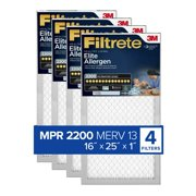 Filtrete Elite Allergen Reduction Filter, 16 in x 25 in x 1 in, MPR 2200, Case of 4 Pack