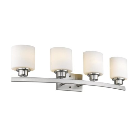 CHLOE Lighting AALIYAH Contemporary 4 Light Brushed Nickel Bath Vanity Light Opal White Glass 32