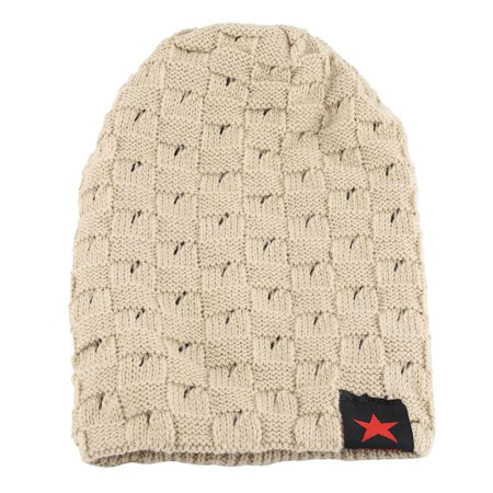 HERCHR Men and Women Fashion Hat, Men and Women Snow Cap, Unisex Winter Autumn Warm Knit Beanie Hats, Women's and Men Winter Hat, Small Five-Star Male and Female Hollow Double-Faced Knit Hat (Beige) ()