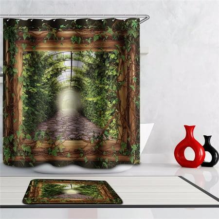 Nature Jungle Rainforest Theme Shower Curtains Wild Decor Wall Hanging Tapestry Art Photo Bedroom Living Room Dorm Accessories w/ 40x60cm 12 Hooks Non-Slip Bath Mat Carpet Door Rug - Theme Jungle
