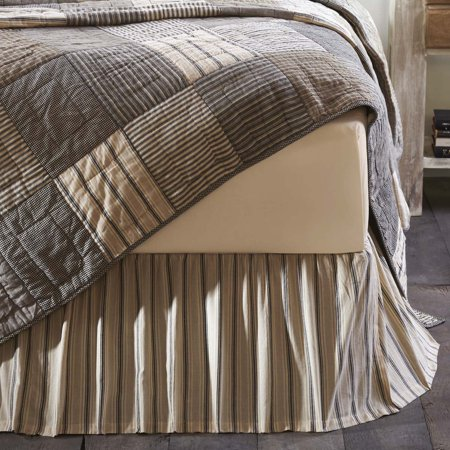 Dark Creme White Farmhouse Bedding Miller Farm Charcoal Cotton Split Corners Gathered Striped King Bed (Bedskirt California King Bedding)